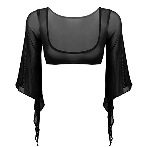 inlzdz Women's Sheer Mesh Open Bust 3/4 Flared Sleeve Cuff Tribal Belly Dance Tops Yoga Costume Black One Size