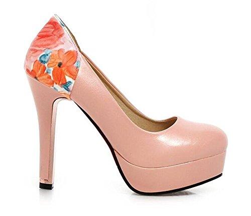 Pink Superficiales 36 florece la Corte de del Talón Bajos Boca de la los Zapatos Toe Ladyz 38 Boca Zapatos Impermeables la de Closed PINK XIE FpP16