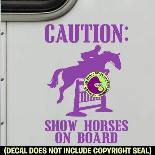 HUNTER JUMPER SHOW HORSES ON BOARD Trailer Vinyl Decal Sticker A