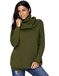 Women Knit Cowl Neck Pullover Jumper Turtleneck Winter Warm Long Sweater Tops