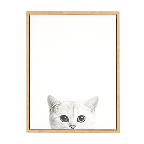 Kate and Laurel Sylvie Kitty Framed Canvas by Simon Te, 18x24, Natural