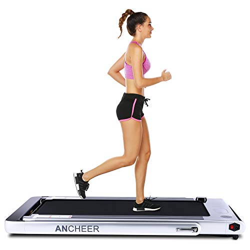 ANCHEER 2 in 1 Folding Treadmill, 2.25HP Electric Treadmill, Under Desk Portable Treadmill Walking Running Machine with Bluetooth Audio Speakers for Home Gym Cardio Exercise (Silver) (Best Treadmill Walking Workout)