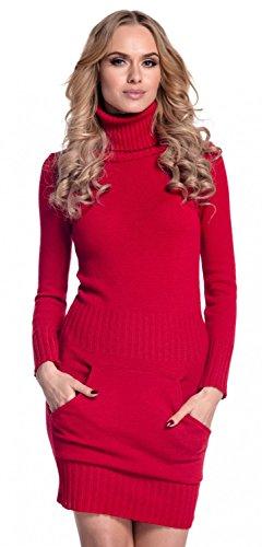 Glamour Empire. Para mujer. Vestido de punto bolsillo delantero cuello alto. 178 Rojo