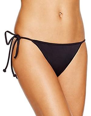 Women's Italian Solid Side Tie Bikini Bottom S