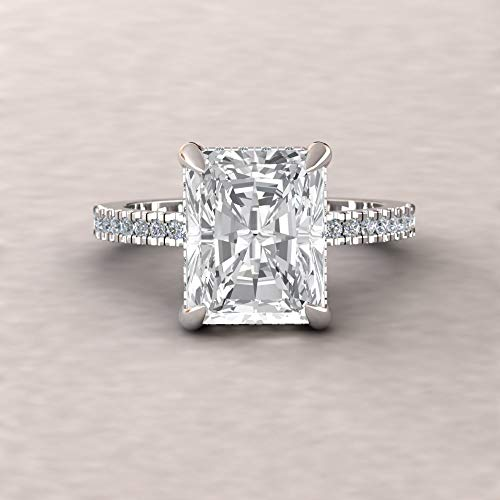 Vs1 Radiant Cut Diamond Solitaire - Forever One Moissanite Ring- 10x8mm Radiant Cut Solitaire