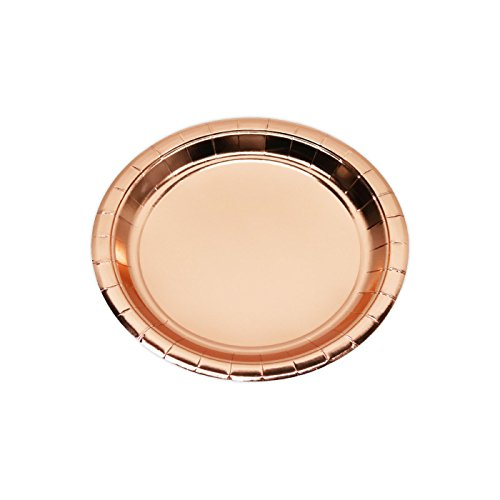 Andaz Press Rose Gold Copper Foil Lunch Plates, 9-inch, 8-Pack, Shiny Metallic Colored Wedding Birthday Baby Shower Party Supplies Decorations