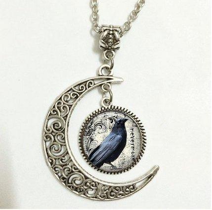 Charm Crescent Moon Poe's Raven Pendant, Raven Necklace Poe Nevermore Goth Jewelry Literary Pendant, Raven Jewellery (Nevermore The Best Of Raven)