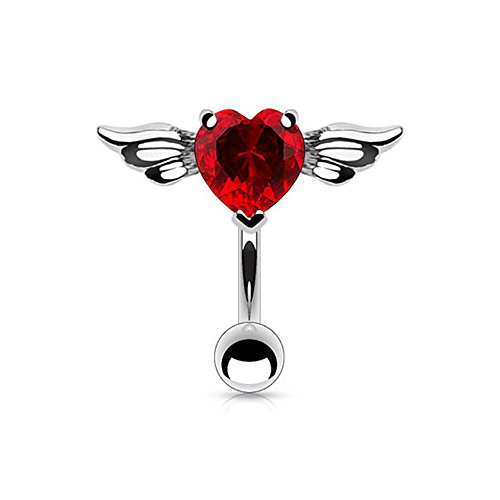 West Coast Jewelry {Red} 316L Steel Navel Ring Top Down Angel Winged 8mm Heart CZ-14GA-3/8 Long-Red (Sold Ind.)