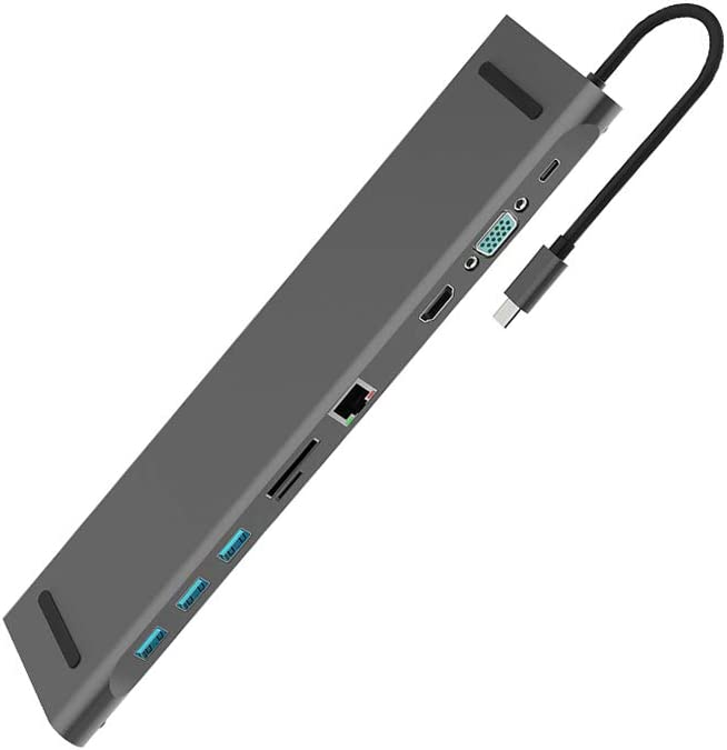 hudiemm0B Hub Adapter 10 in 1 Type-C to USB 3.0 TF HDMI VGA RJ45 Mini DP Hub Adapter Docking Station