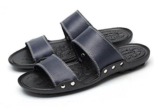 2017nueva piel Zapatillas Hombres Casa Decoración interior Suelo Classic calzado casual diapositivas piel 4