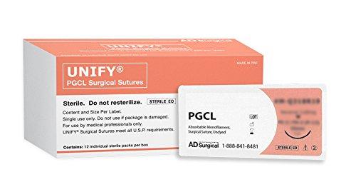 UNIFY Surgical PGCL Sutures. #M-Q318R19 Absorbable. Mono Undyed. Size 3/0. 18''/45cm Thread. 19mm 3/8 Circle R/C Needle (FS-2/C-6). 12 Foil Packs/Box.