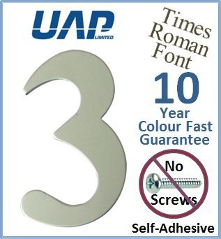 3' Times Roman Self Adhesive Door Numeral - Number 3 - Silver Anodised (Made from Aluminium) - No Screws Needed UAP