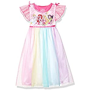 Disney Girls' Big Fantasy Nightgown, Multi-Princess-Rainbow, 8
