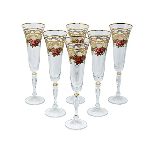Glazze Crystal ALY-081-GL Champagne Flute, Gold Floral (Twisted Stem Flute)