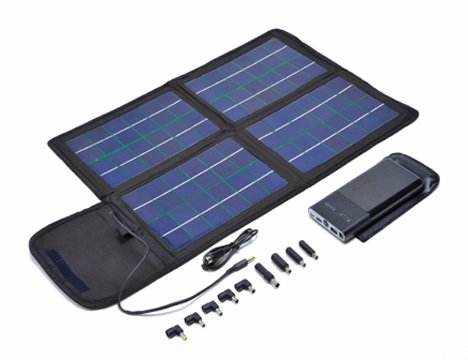 20 Watt Foldable Solar Charger Bag. Includes High Capacity 50Watt hour Rechargeable Lithium Battery with Adjustable Voltage Selection of 8.4/12/16/19 Volts. With an output of 4A peak you can charge your Netbook, Laptop, small devices such as portable DVD Player, PDA, Mp3, Cell Phone, E-readers, Digital Camera, Camcorder and Tablets (All Apple Products).