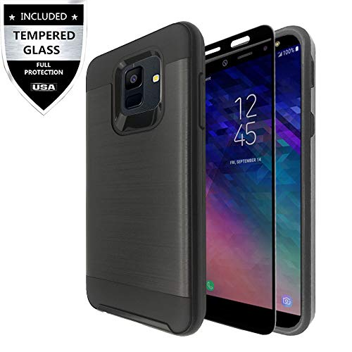 Samsung Galaxy J2 (2019) Case,Galaxy J2 Core Case,Galaxy J2 Dash/Galaxy J2 Pure Case with Tempered Glass Screen Protector,IDEA LINE Hybrid Hard Shockproof Slim Fit Brushed Cover - Black