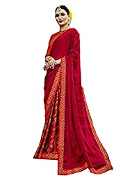 Mirraw Classiques Pink Printed Chiffon Saree with Unstitched Blouse