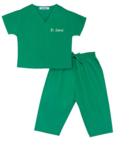 [Personalized Scrubs for Children, Size 3T, Green] (Doctor Costumes For Toddlers)