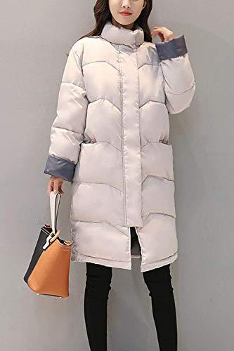 Invierno Grey Elegante Modernas Plumas Huixin Abrigos Invierno Chaqueta Largos Abrigos Acolchada Pluma Sólido Cálido Cremallera High Color Manga Larga Colmar Otoño Mujer Collar qBzvzwE