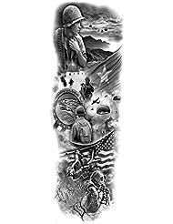 DaLin 12 Sheets Extra Large Temporary Tattoos, Full Arm Military Tattoos
