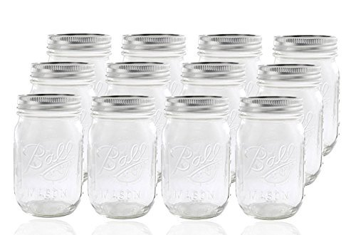 (Ball Glass Mason Jar with Lid and Band, Regular Mouth, 12)