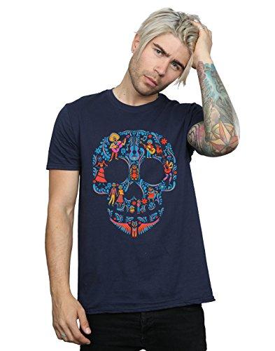 Disney Men's Coco Skull Pattern T-Shirt Medium Navy Blue from Disney