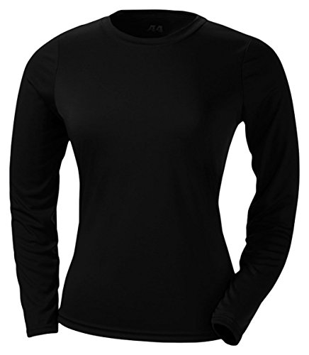A4 Women's Cooling Performance Crew Long Sleeve T-Shirt, Black, Small Photo #1