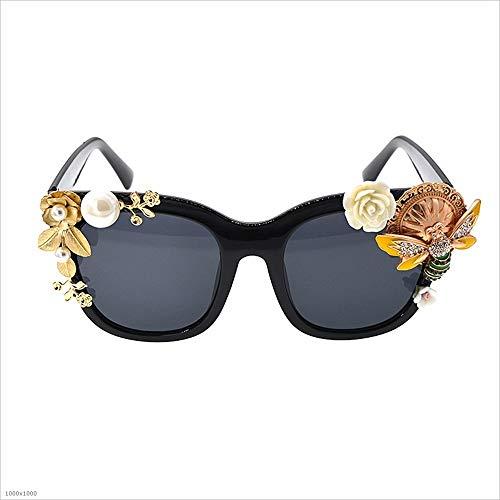a Gato señoras Sol Playa Sumferkyh la de Hechas la Flor la de de polarizadas conducción Abeja del de de Ojos Polarizado de Gafas Decorativos Sol de 100 Gafas Mano UV protección de Metal nwqEqaS7r0