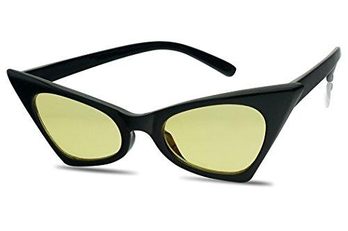 SunglassUP - Retro Small High Pointed Color Tinted Cat Eye Lens Geometric Sun Glasses (Black / Yellow - W Black Sunglasses