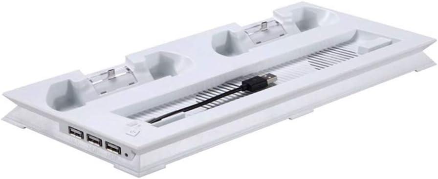 PS4 Pro - Soporte vertical con ventilador de refrigeración y estación de carga dual para Sony PS4 Pro Game Console, 4 puertos con hub USB adicional de 3 puertos, blanco: Amazon.es: Bricolaje