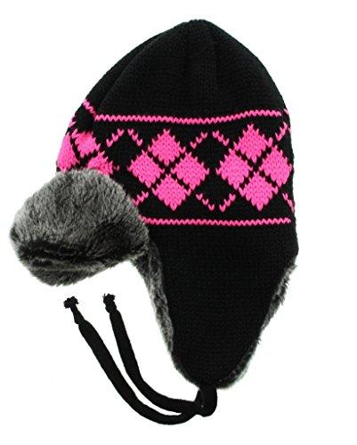 Milani Neon Argyle Pattern Knit Aviator Trapper Earflap Beanie Winter Hat Skull Cap with Faux Fur (Hot Pink)