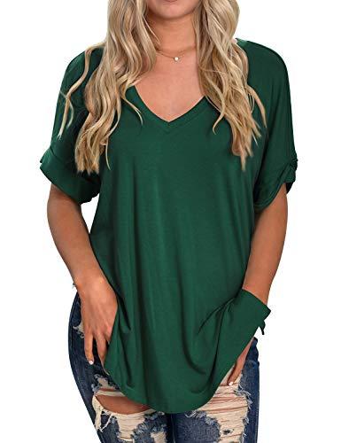 Tunic V-neck Shirt - ZXZY Women Loose Casual V Neck Split Hem Solid Color Tunic Blouse Tops Shirts Dark Green