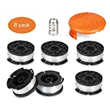 Deyard Trimmer Spool for Black + Decker Autofeed System Replacement Durable 30ft 0.065' Line String Trimmer (6 Replacement Spool, 1 Spool Cap, 1 Spring)