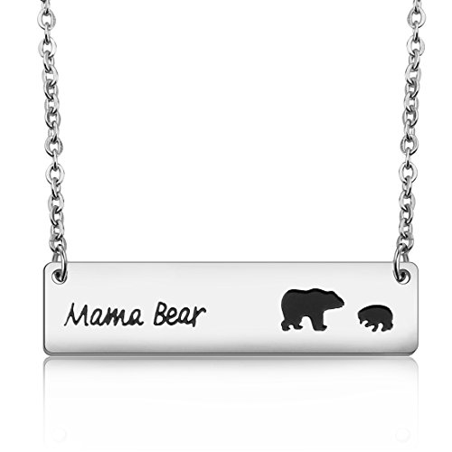 1 Mama Pendant (MAOFAED Bar Necklace Mama Bear Pendant Necklace Mother`s Day Gift For Wife Gift Jewelry (Mama bear necklace with 1 cub))