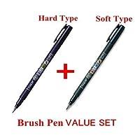 2Pacs X Tombow Fudenosuke Brush Pen /Soft Type & Hard Type (Cada 2 plumas) /Total de 4 plumas
