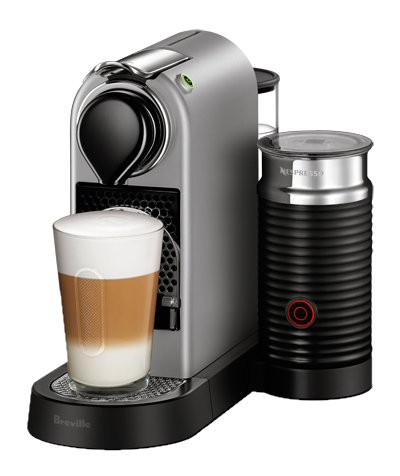 Breville BEC680SIL1BUC1Nespresso CitiZ Original Espresso Machine with Aeroccino Milk Frother Bundle by, Silver