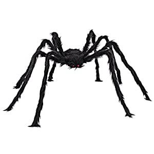 5 ft Huge Halloween Outdoor Decor Hairy Spider by Spooktacular Creations (black)
