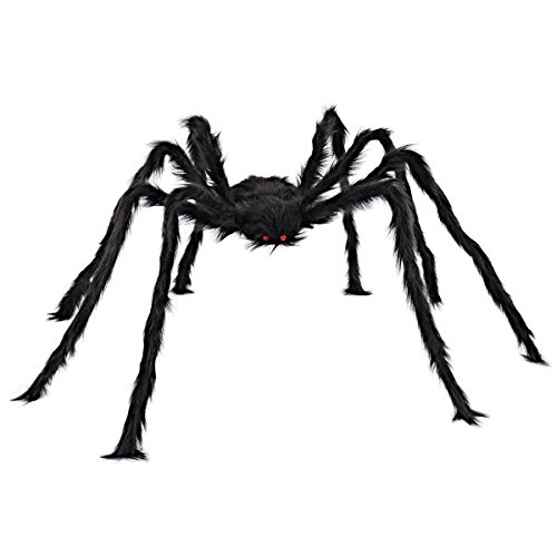 Outdoor Halloween Decorations - 5 ft Huge Halloween Outdoor Decor Hairy Spider by Spooktacular Creations (black)