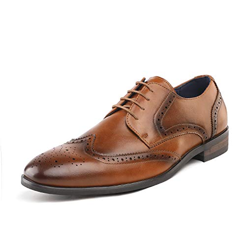 Bruno Marc Men's HUTCHINGSON_3 Camel Wingtip Oxford Dress Shoes Size 10.5 M US ()