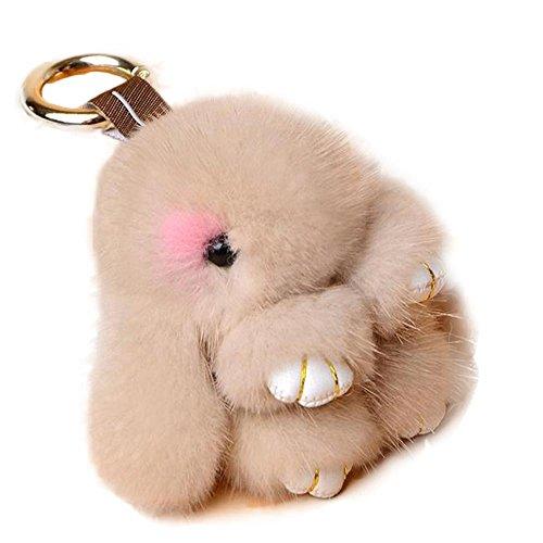 Manka Vesa Cute Mini Mink Fur Rabbit Doll Key Chain for Women Bag Charms Car Keyring Khaki
