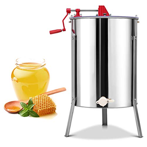 Goplus Large 4/8 Frame Honey Extractor Honey Separator Stainless Steel Manual Crank Pro Extraction Equipment Manual Beekeeping Equipment with Stand - Honey Counter