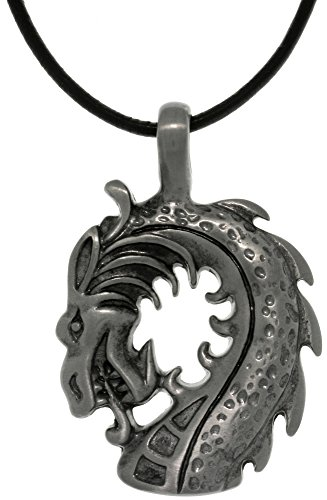 - Jewelry Trends Dragon Head Pewter Pendant Necklace 18