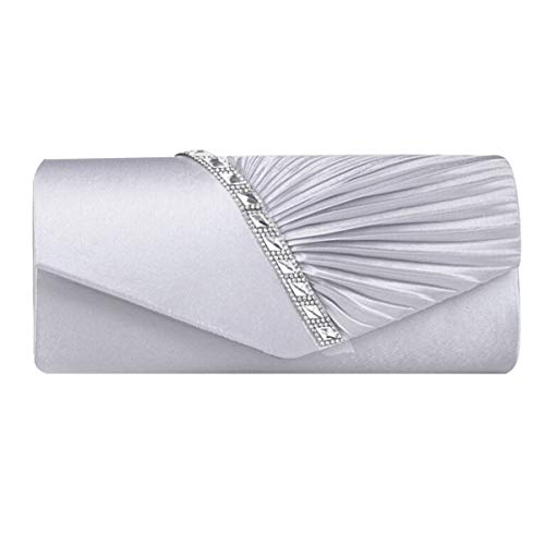 - Monique Women Crystal Satin Pleated Evening Clutch Bag Handbag Chain Cross-body Bag Silver