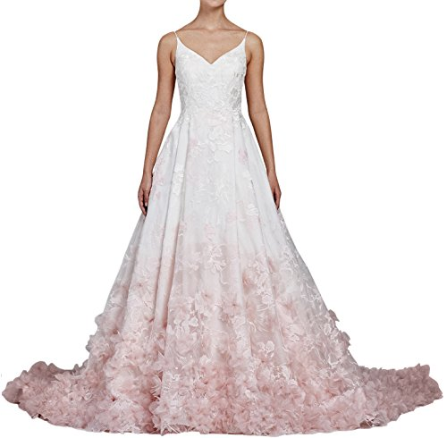 StayPretty Elegant Shoulder V Neck Long Train Wedding Dress for Women Custom Size