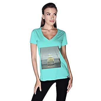Creo Beach Van T-Shirt For Women - L, Green
