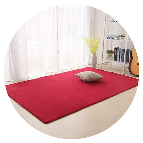 Solid Carpet for Living Room Parlor Area Rug Anti-Slip Home Great Room Rugs Bedroom Floor Mats Crawling Blanket,Wine,40X60cm