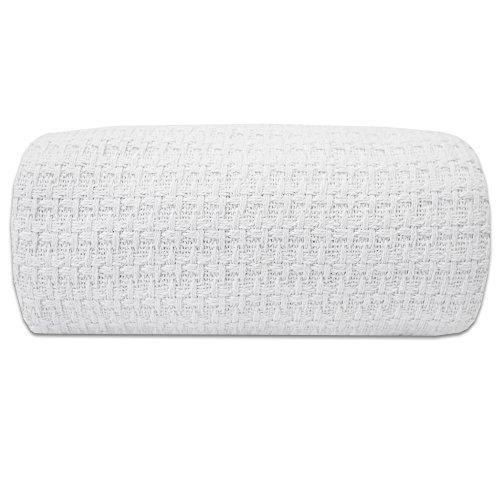 100% Fine Cotton Luxurious Basket Weave Blanket, White