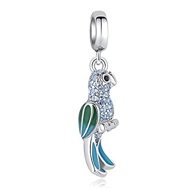 "Glamulet 925 Sterling Silver ""Lonely Parrot"" Enamel Dangle Charm Fits Charm Bracelets by Glamulet"
