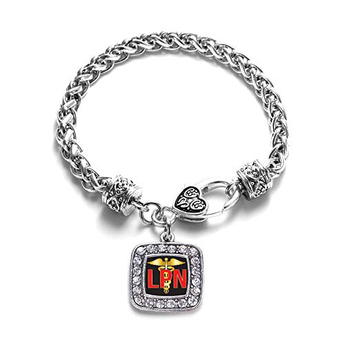 - Inspired Silver - LPN Braided Bracelet for Women - Silver Square Charm Bracelet with Cubic Zirconia Jewelry
