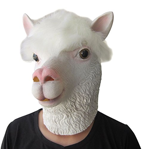 Lubber Halloween Costume Alpaca Latex Animal Head Mask White -